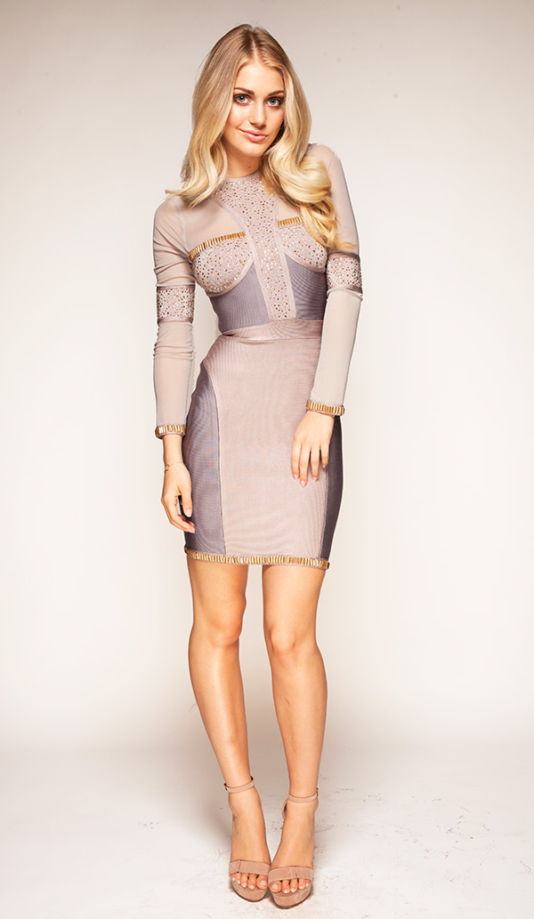 Clothing : Bandage Dresses : 'Samia' Crystal Embellished Long ...