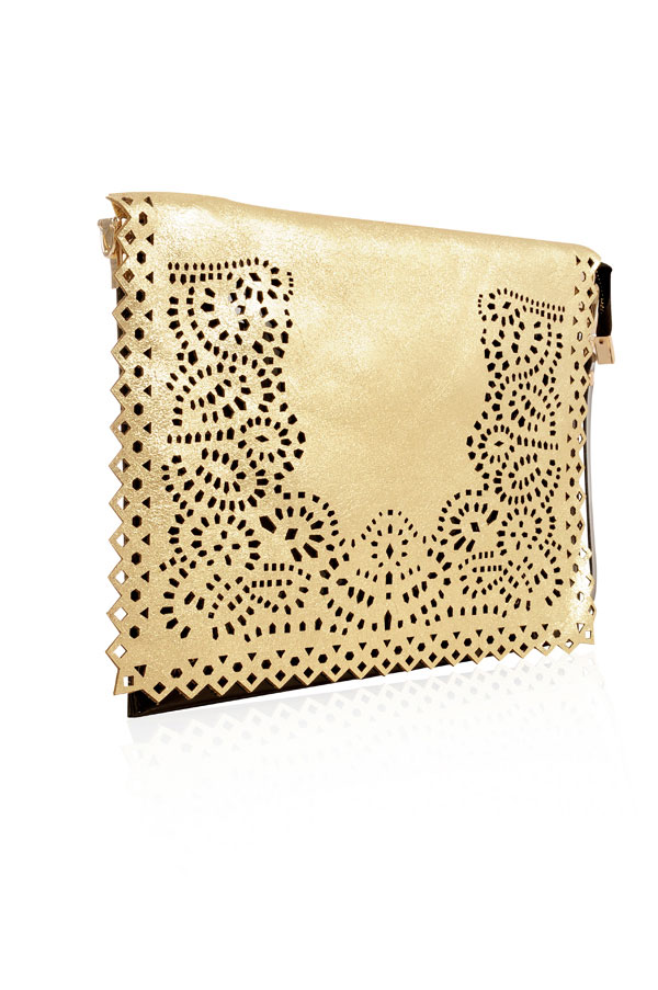 ea14fba242d Accessories : 'Night Rider' Gold and Black Laser Cut Clutch Bag