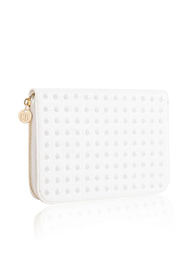 Accessories : 'Wildstar' White Studded Clutch Purse