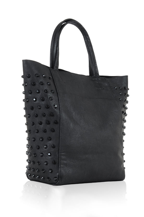 Accessories : 'B.Gorgeous' Black Gold Studded Tote Bag