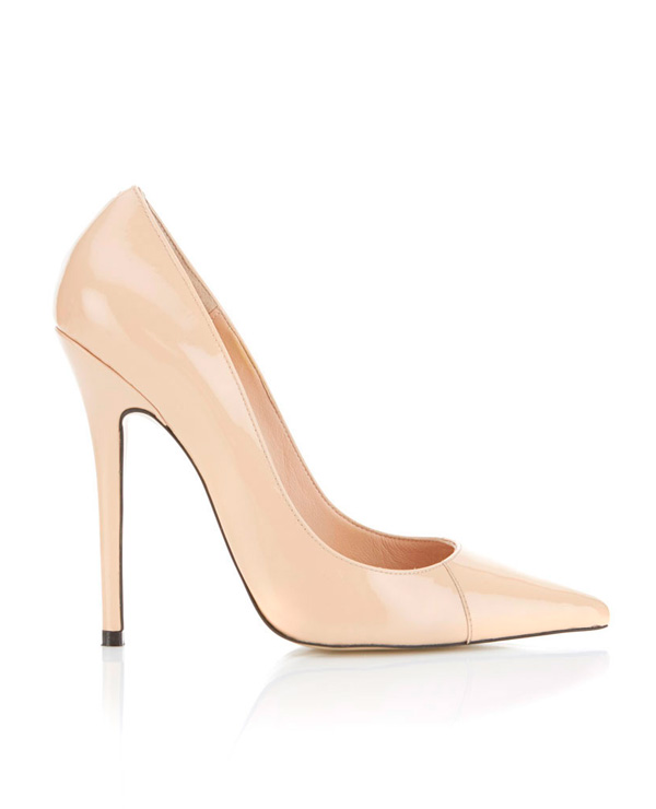 Shoes : 'Paris' Patent Leather Nude Pointed Toe High Heel Pump