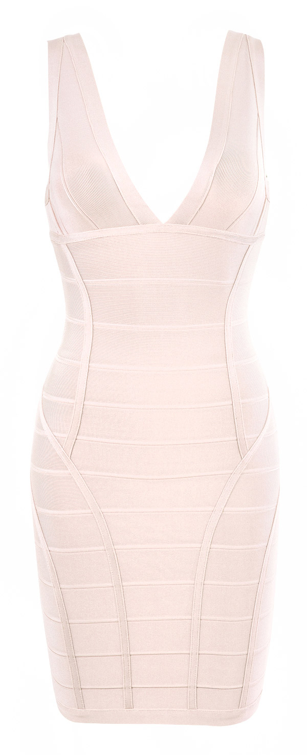 Clothing Bandage Dresses Jenna Nude V Neck Bandage Dress