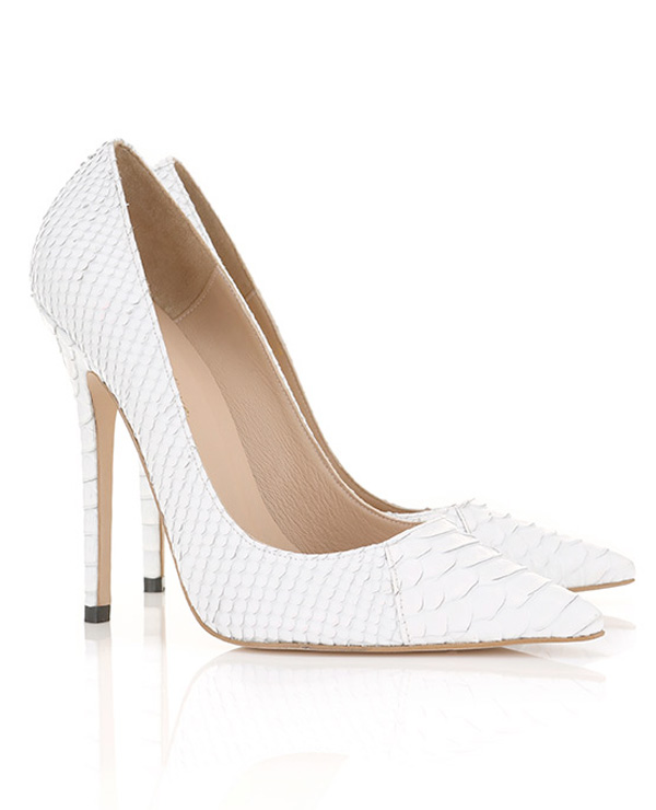 Shoes :'Paris' White Faux Snake Skin Point Toe Heels