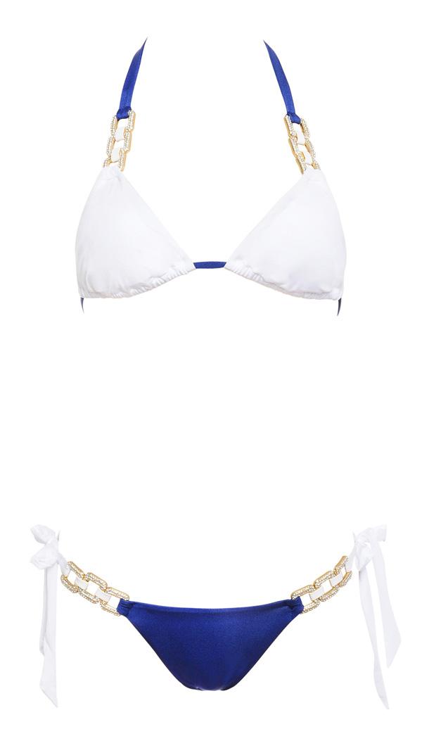 Blue and gold bikini