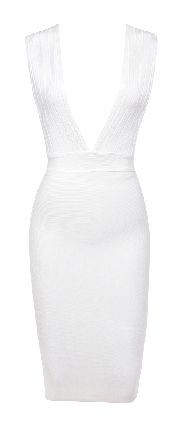 0049d6c4a90 Clothing   Bandage Dresses    Maxen  White Deep V Bandage Dress