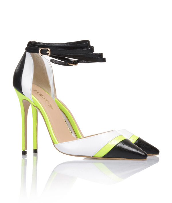 5652e50f967c Santorini Black   White with Neon Lime Pointed Toe Pumps. View larger  image. View larger image
