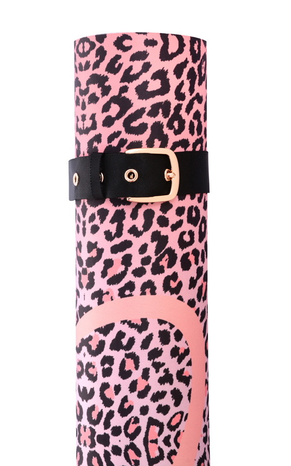 Work Out Wear Leopard Pink And Black Animal Print Yoga Mat