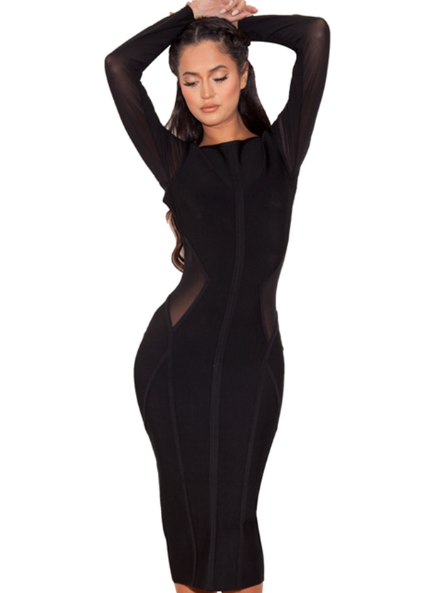 228cbac3420b5 Clothing   Bandage Dresses    Nenah  Black Midi Length Bandage and ...