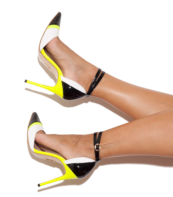 f3a5b331e0d9 Shoes   Santorini  Black  White with Neon Lime Pointed Toe Pumps