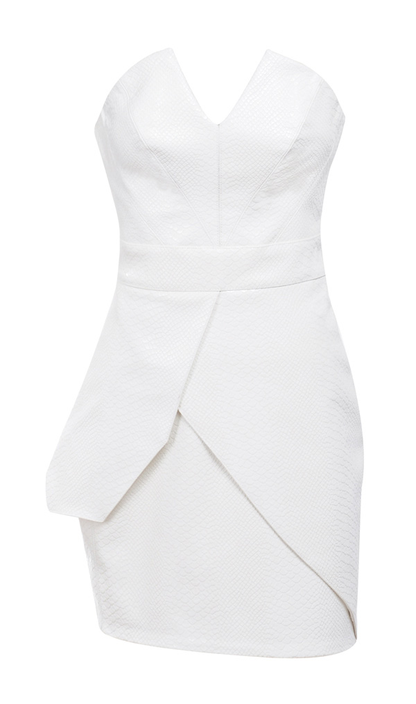 Clothing Structured Dresses Adriana White Stretch Leatherette