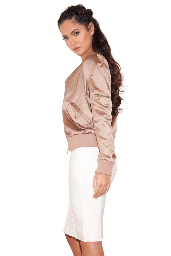 Clothing Jackets Dena Rose Gold Satin Bomber Jacket