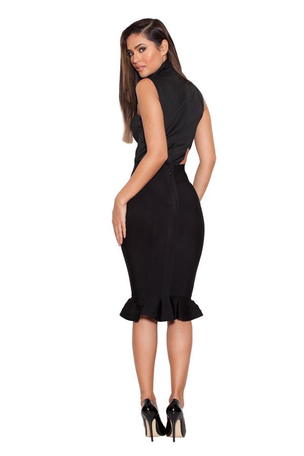 Black bandage dress with fluted hem pencil