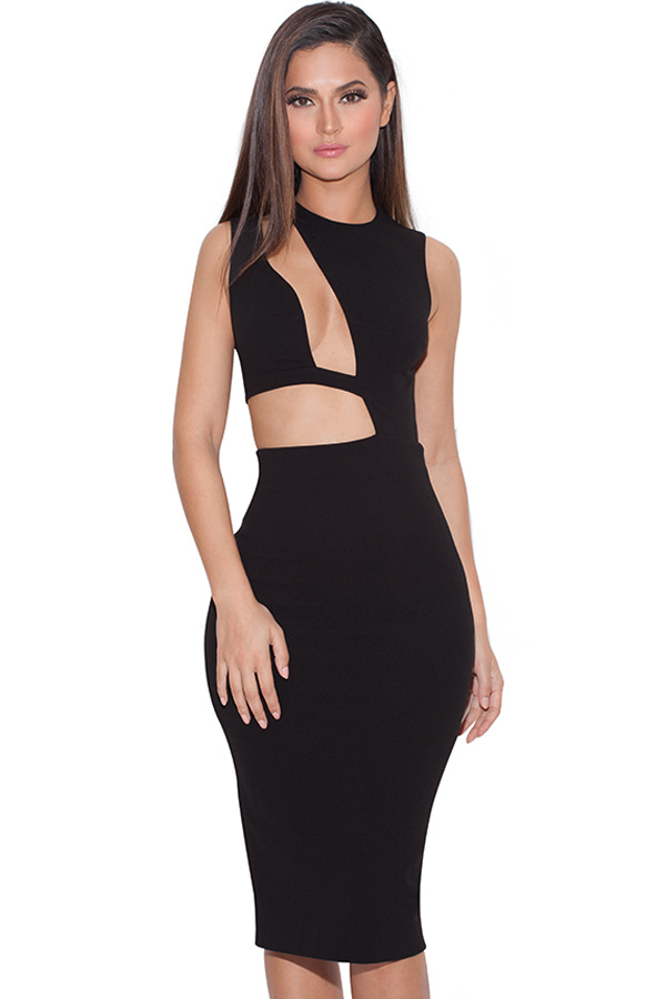 Clothing : Bodycon Dresses : 'Romana' Black Cut out BodyCon Dress