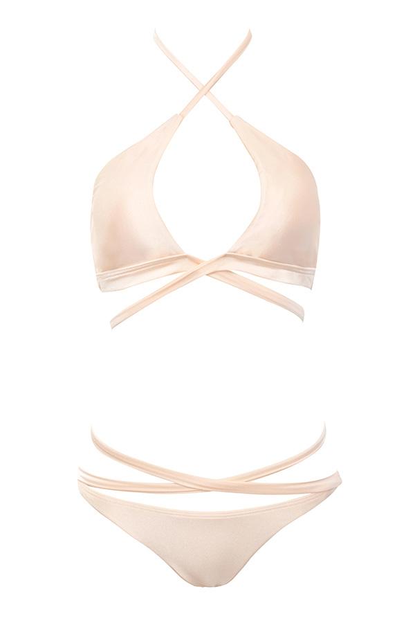 2e45829d8ba Clothing : Swimwear : 'Abruzzo' Peach Peek-a-boob Wrap Bikini