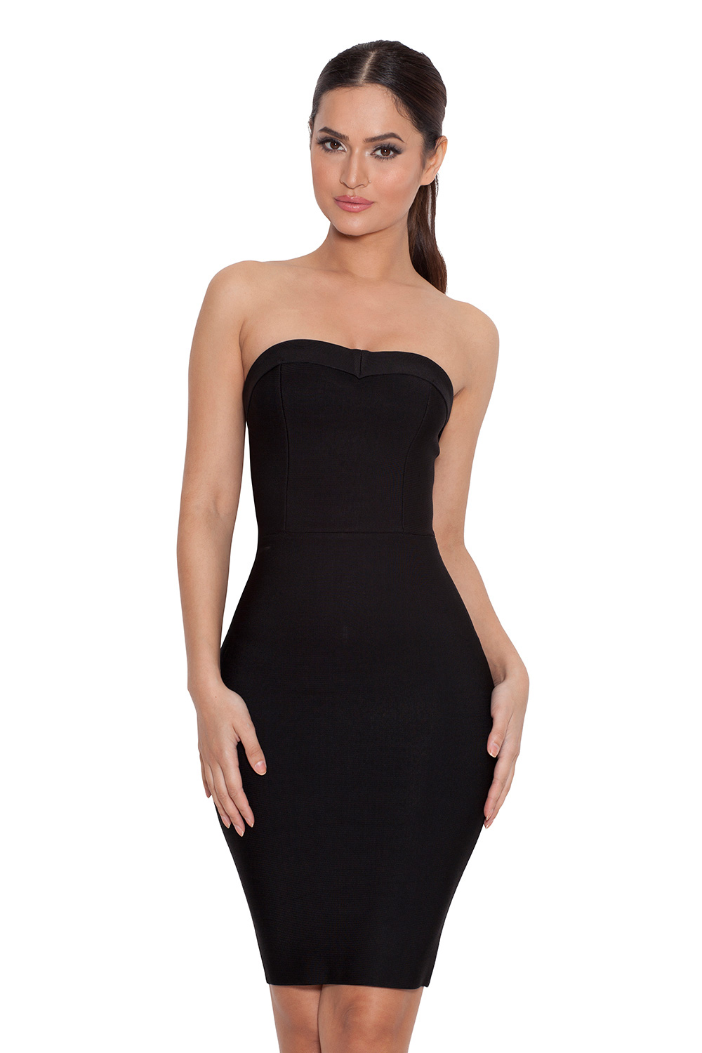 Clothing : Bandage Dresses : 'Vanna' Black Strapless Bandage Mini ...