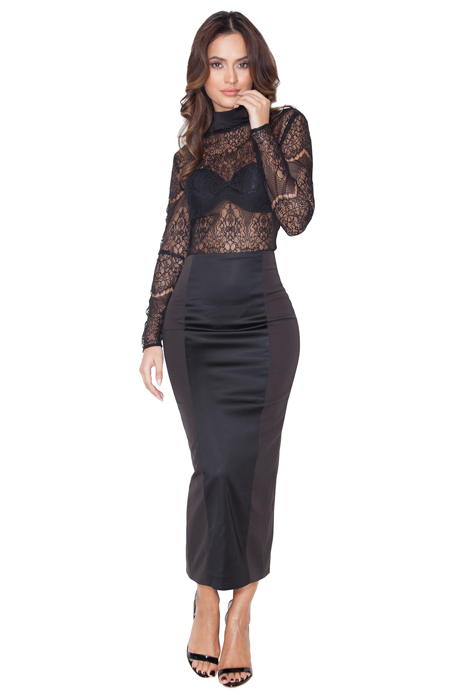 Clothing : Skirts : 'Raissa' Black Satin and Stretch Jersey Midi ...
