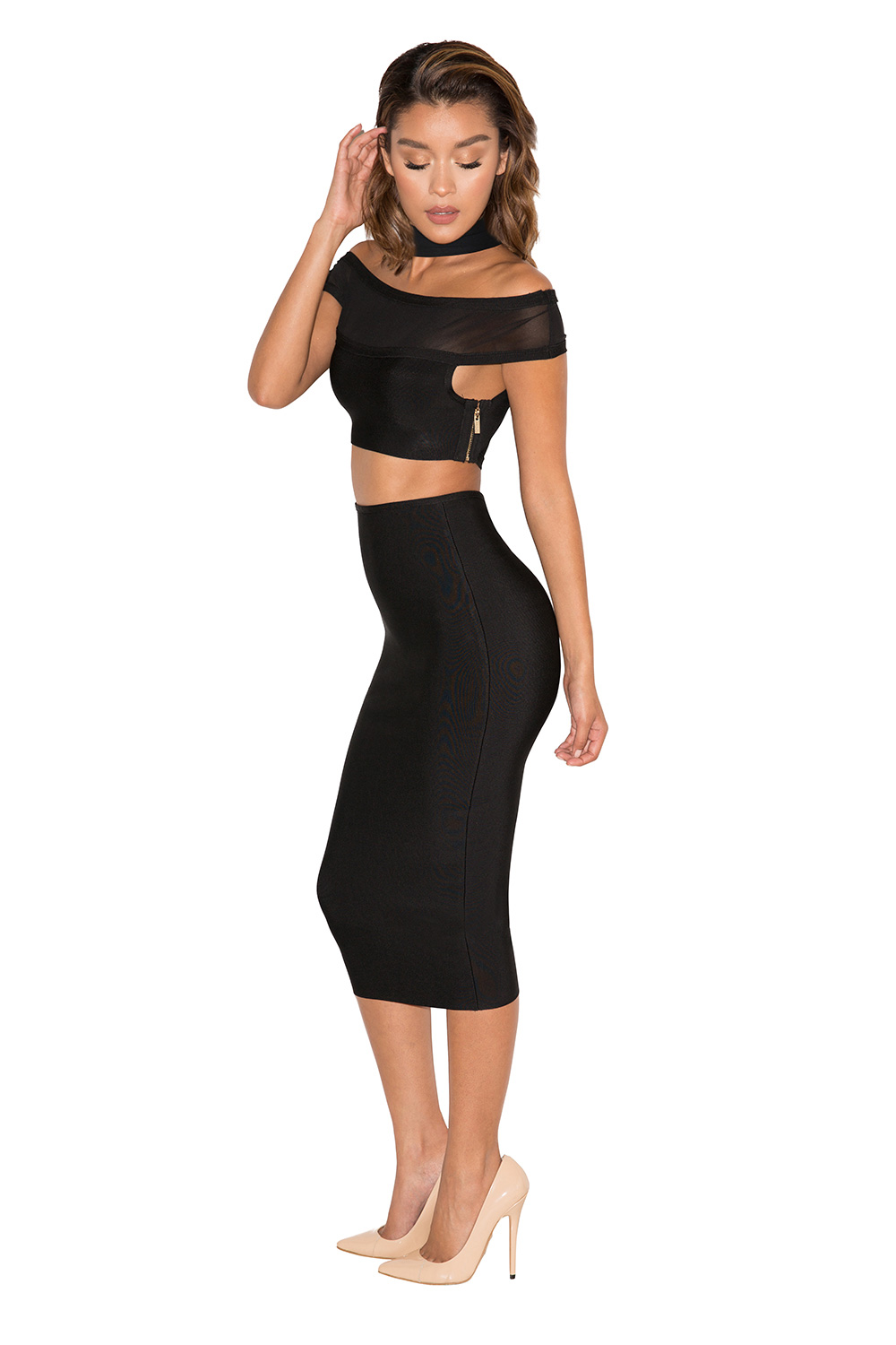396c4089b3c5f6 Roche Black Bandage and Mesh Off Shoulder Two Piece. View larger image.  View larger image