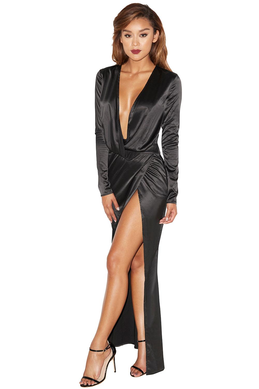 Clothing : Max Dresses : 'Serafina' Black Draped Maxi Dress
