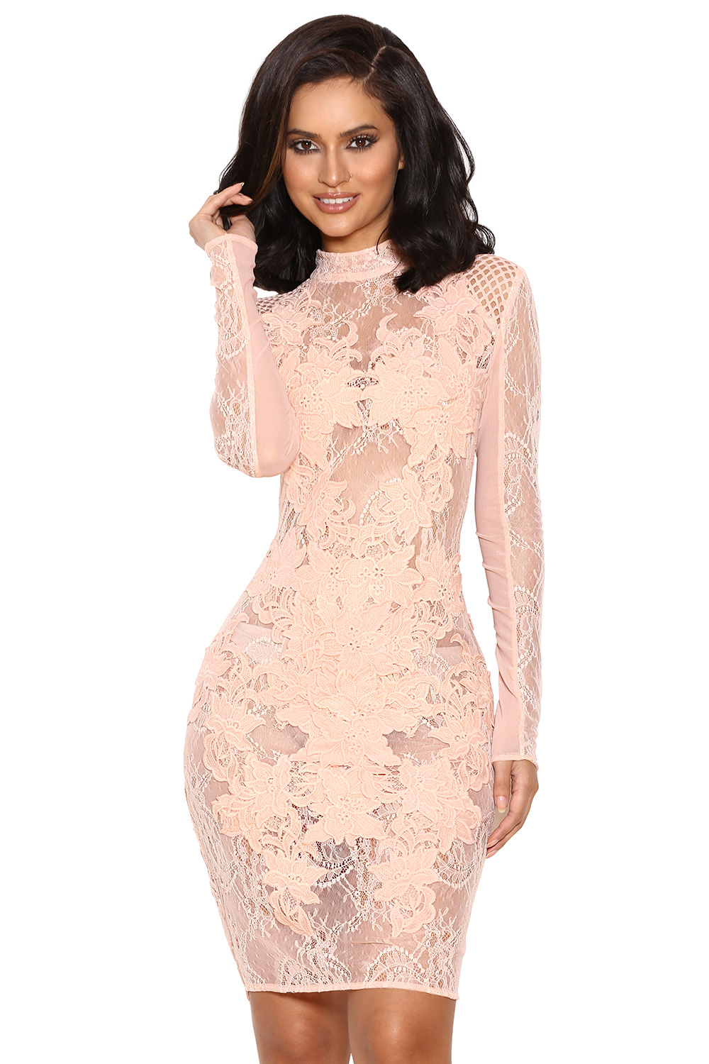 Clothing  Bodycon Dresses  u0026#39;Giallau0026#39; Peach Mesh and Lace Long Sleeved Dress