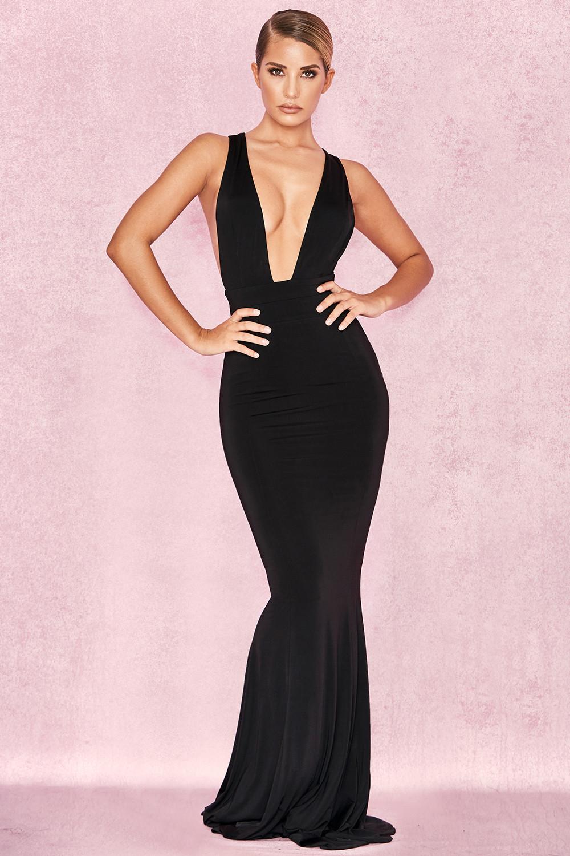 317256a63142 Clothing   Max Dresses    Miacova  Black Silky Jersey Plunge Maxi Dress