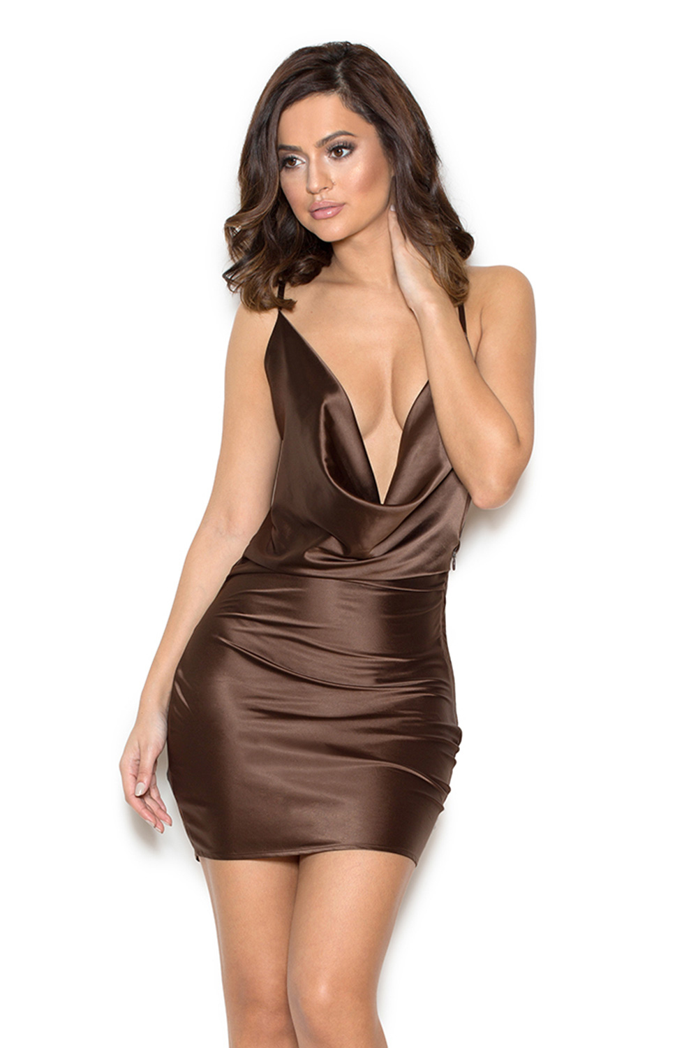 Brown Satin Dress