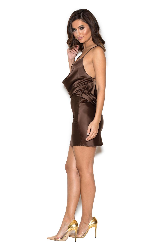 Clothing : Bodycon Dresses : \'Aitana\' Chocolate Brown Draped Satin Dress