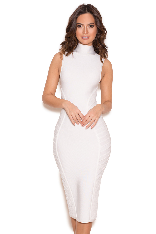 819cc0575c7 Clothing   Bandage Dresses    Cordella  White Turtle Neck Bandage Midi Dress