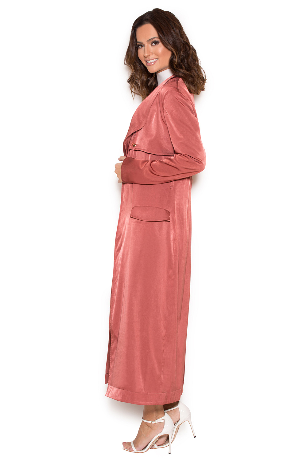 Clothing : Jackets : \'Madelie\' Copper Satin Duster Coat