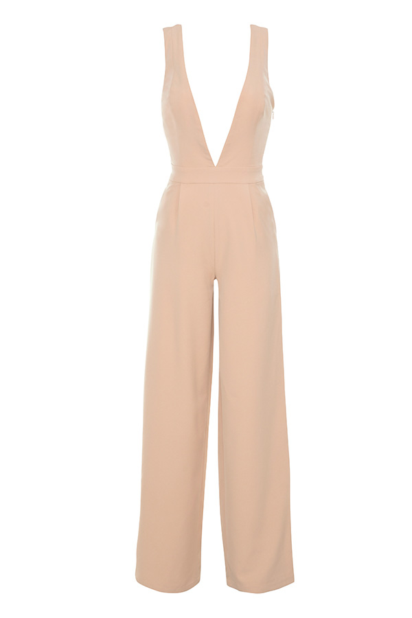06594499dc05 Clothing   Jumpsuits    Marwa  Blush Deep V Wide Leg Jumpsuit