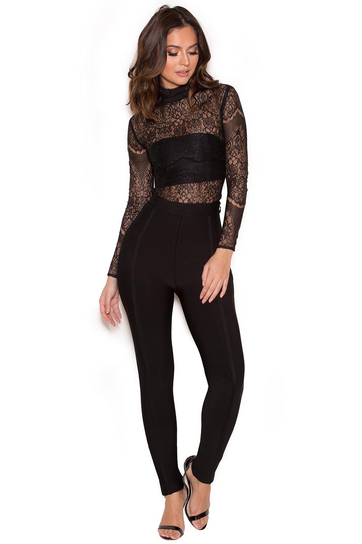 clothing bodysuits mayska black sheer lace bodysuit