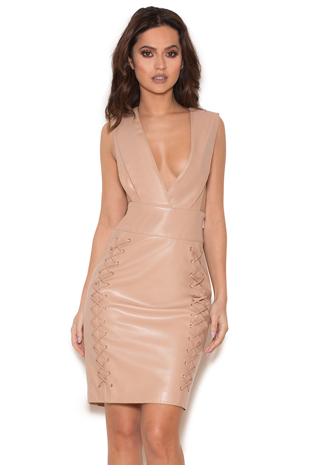 Clothing : Bodycon Dresses : 'Valencia' Nude Vegan Leather ...