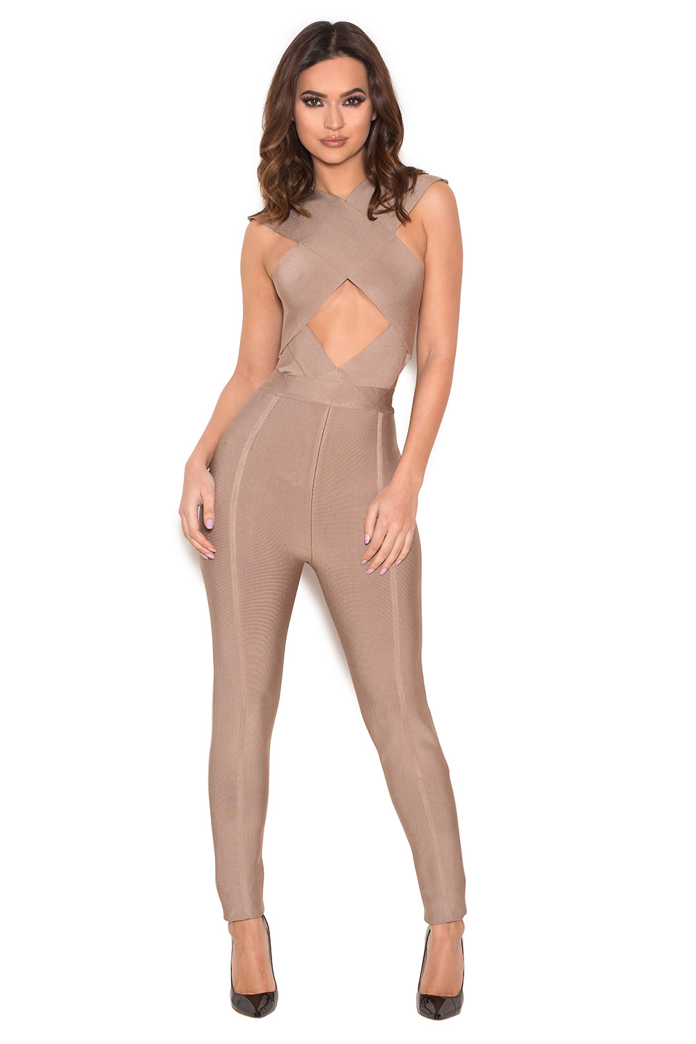 cbf66227cd31 Clothing   Jumpsuits    Aster  Taupe Bandage Crossover Front Jumpsuit