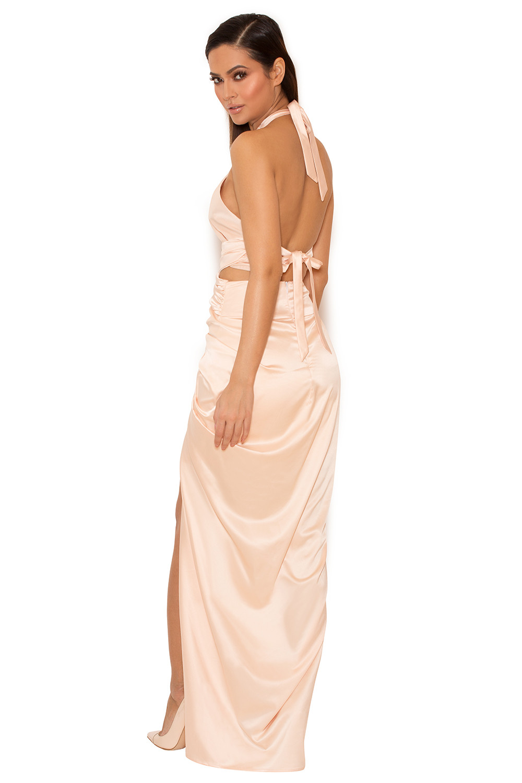 91451df2c40 Clothing   Max Dresses    Cesare  Blush Satin Halter Wrap Maxi Dress