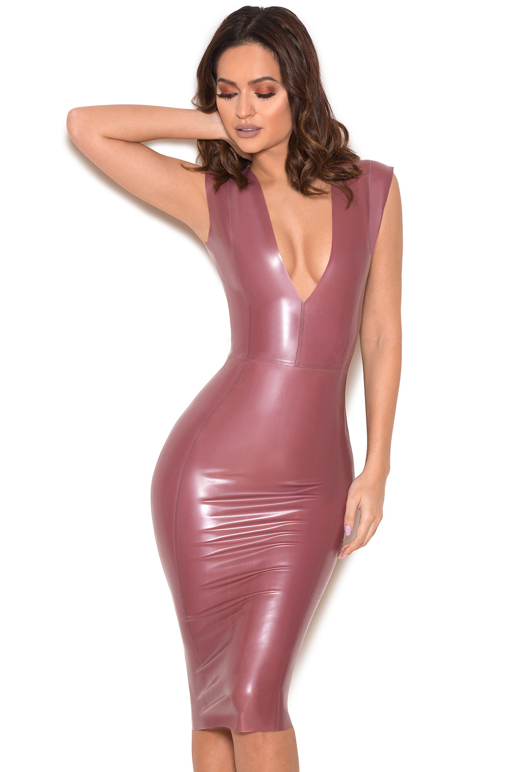 Clothing Bodycon Dresses Rivera Electric Rose Deep V