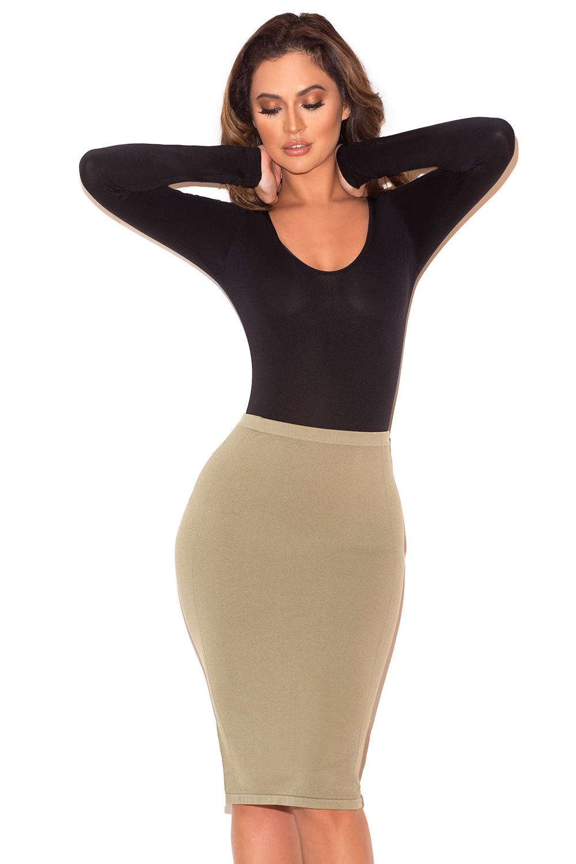 6ba67fecef7 Clothing   Bodysuits    Rosella  Black Seamless Knit Scoop Neck ...