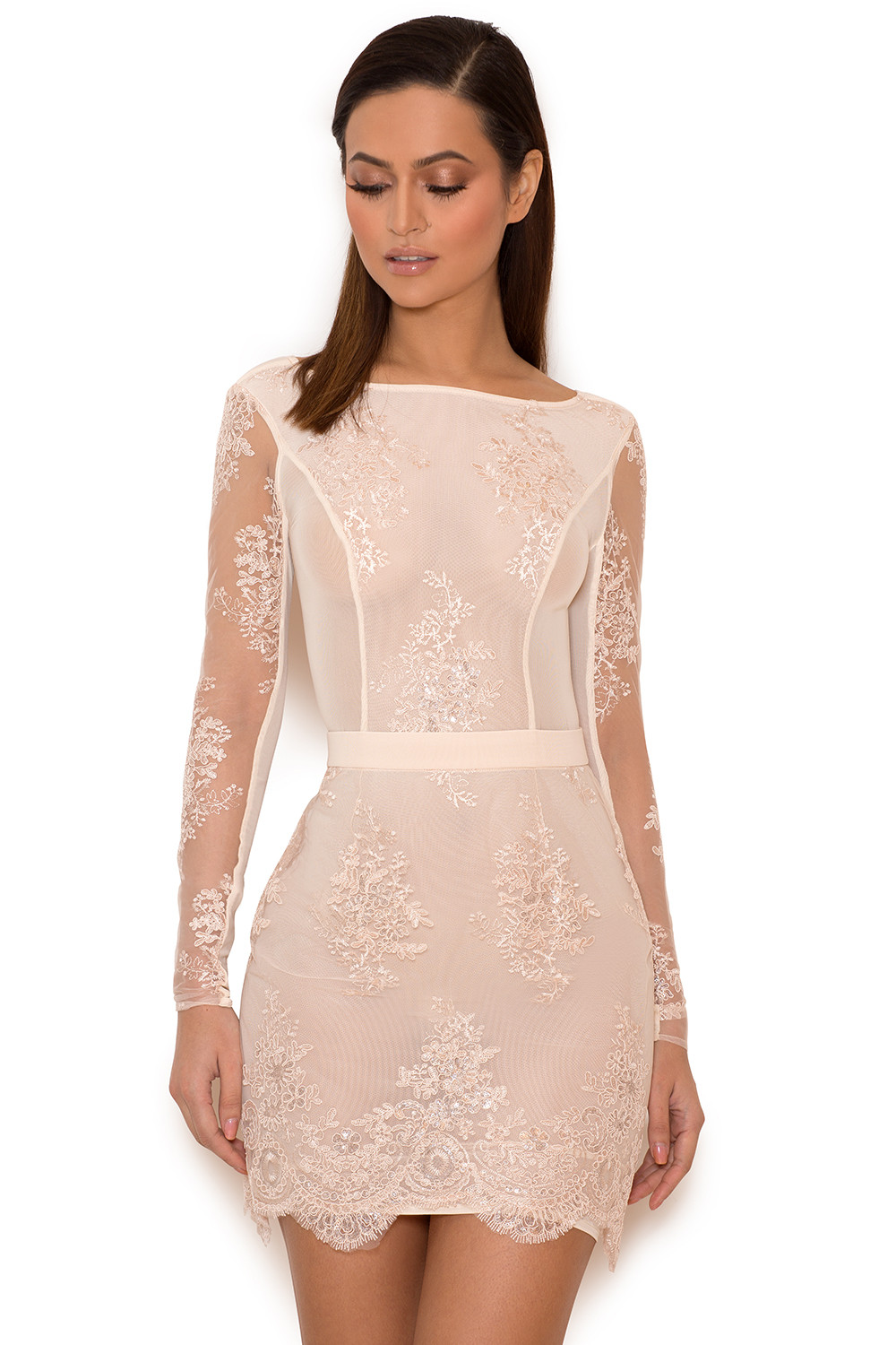 8257092bff7 Clothing   Bodycon Dresses    Sathea  Light Pink Lace and Sequin Backless  Dress