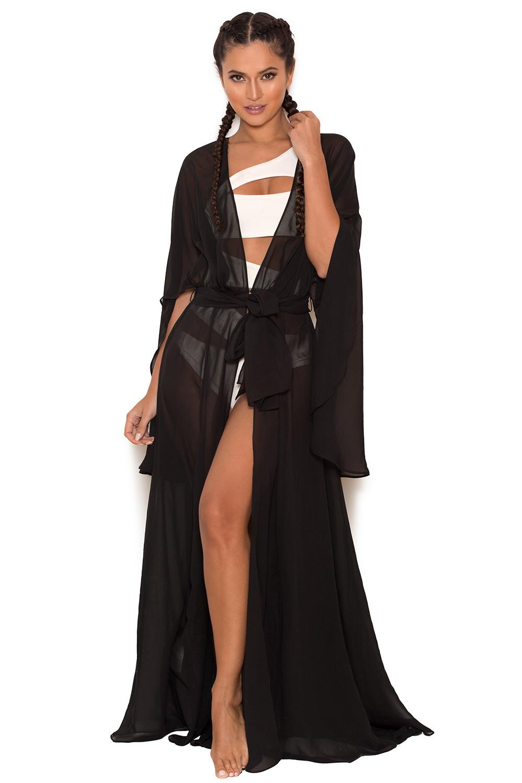 098ba2ee09 Clothing : Swimwear : 'Mariea' Black Chiffon Full Length Beach Cover Up