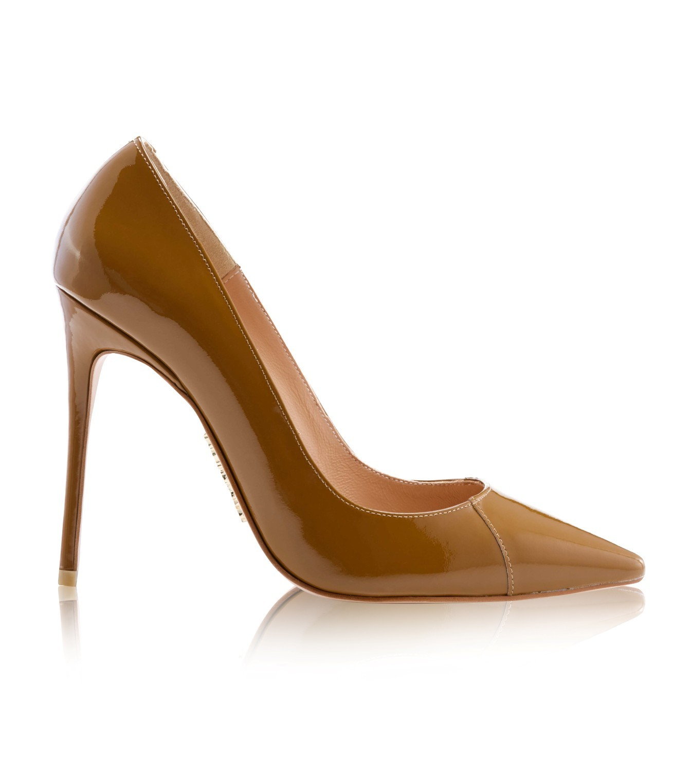 Shoes   PARIS  Tan Patent Leather Pointy Toe Heels 4