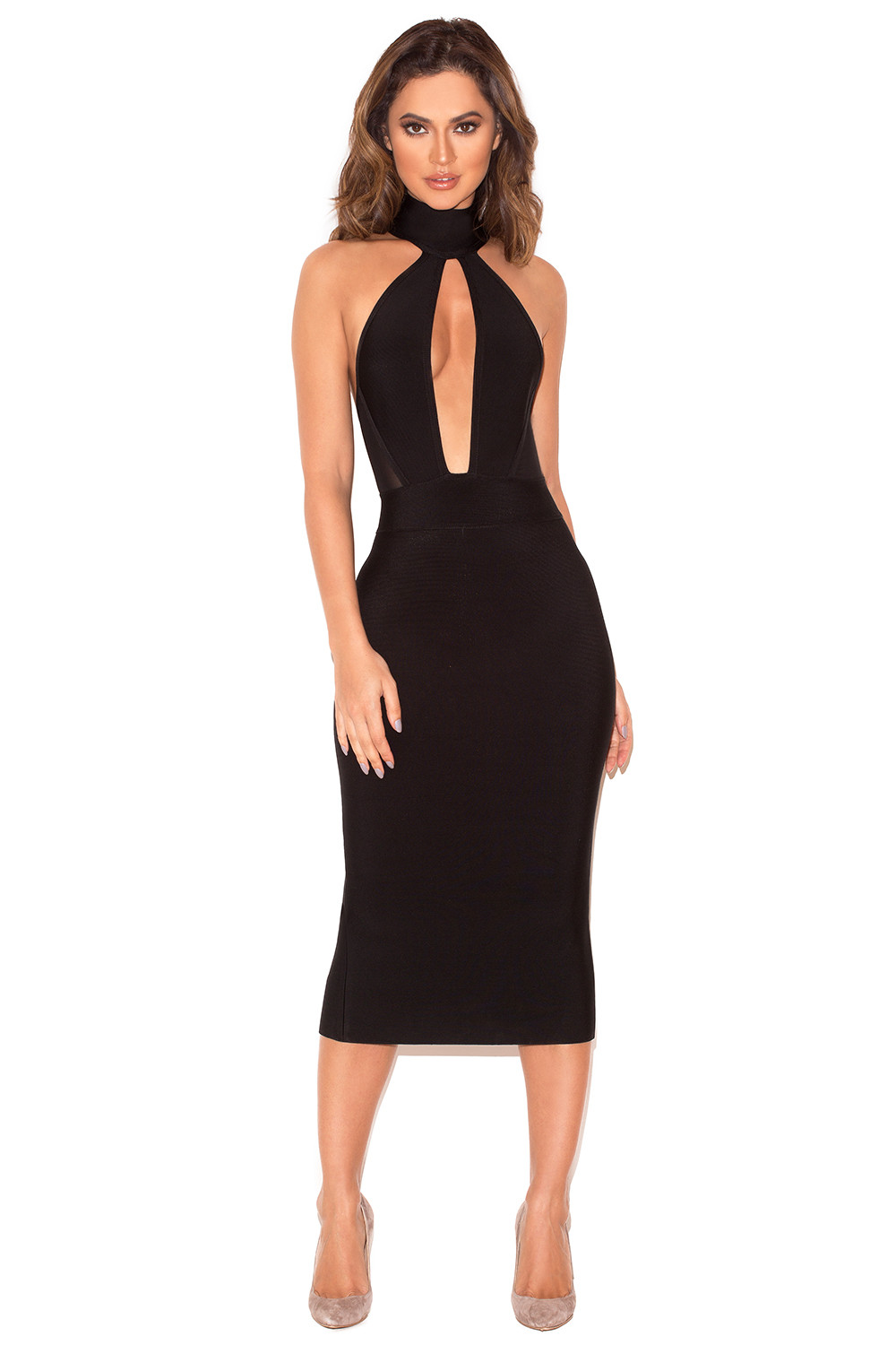 Clothing  Bandage Dresses  u0026#39;Alejandrau0026#39; Black Halter Backless Bandage Dress