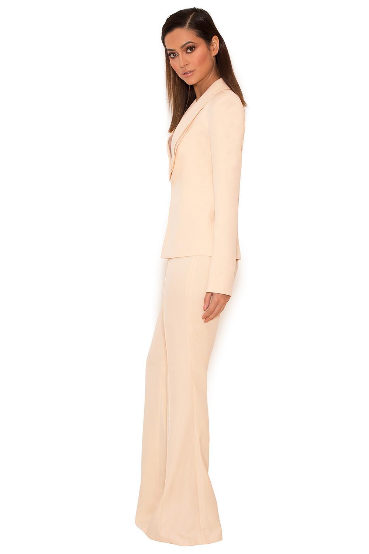 Clothing : 2 Pieces : \'Drew\' Peach Stretch Crepe Trouser Suit