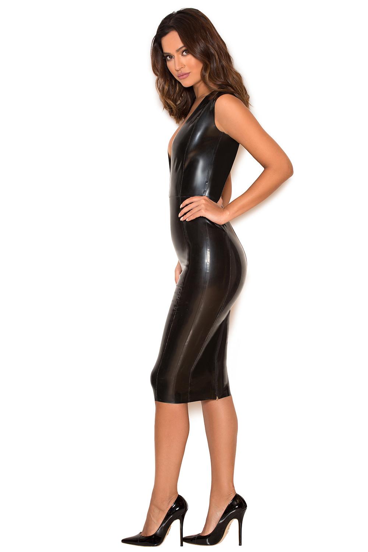 Clothing : Bodycon Dresses : 'Rivera' Black Deep V Latex Dress