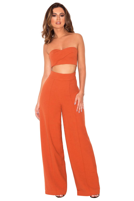 Clothing : 2 Pieces : \'Rosalva\' Russett Two Piece Bustier Trouser Set