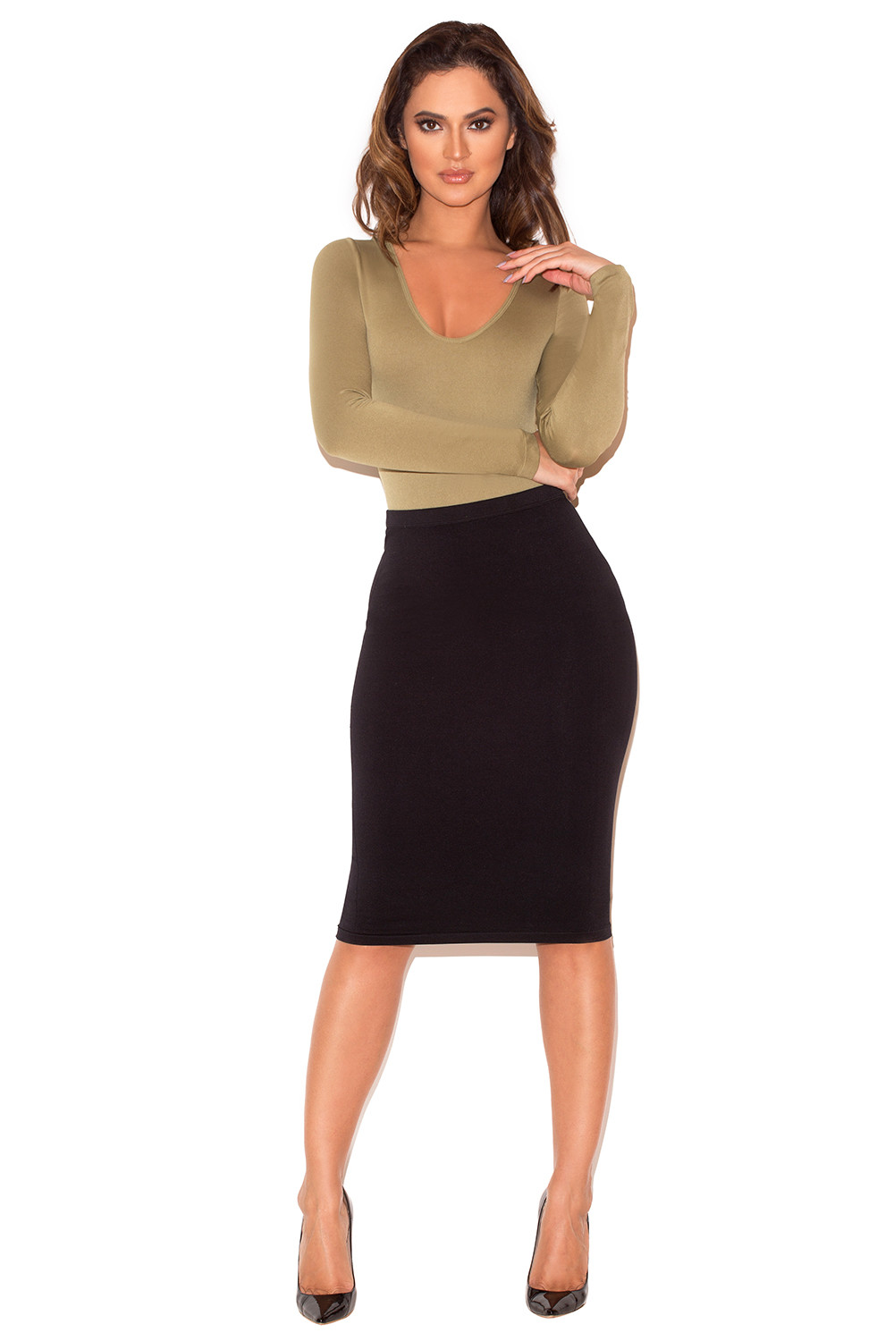 b9153b51588 Clothing   Bodysuits    Rosella  Nude Seamless Knit Scoop Neck ...