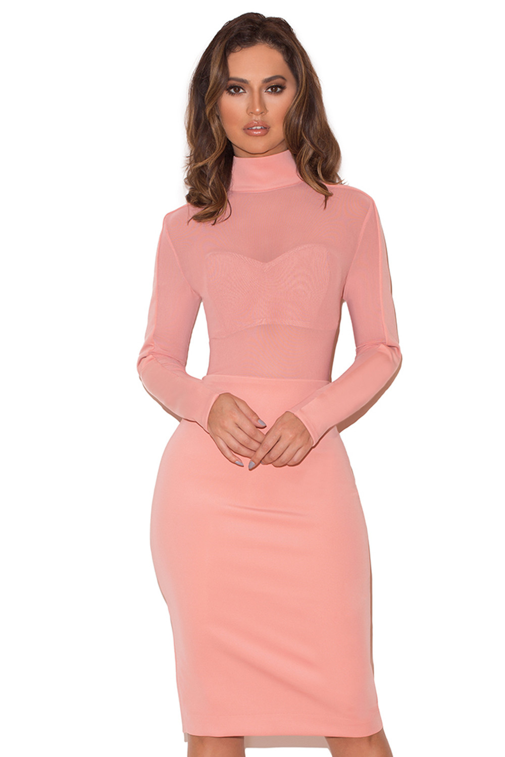 404a2c34d58c Clothing : Bodycon Dresses : 'Sajida' Pink Stretch Crepe Jersey Long ...