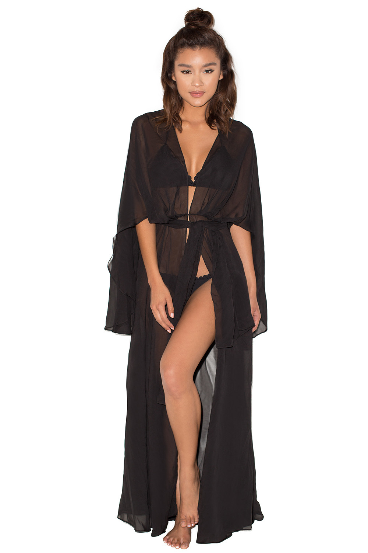 47429ac845 Clothing   Swimwear    Mariea  Black Chiffon Full Length Beach Cover Up