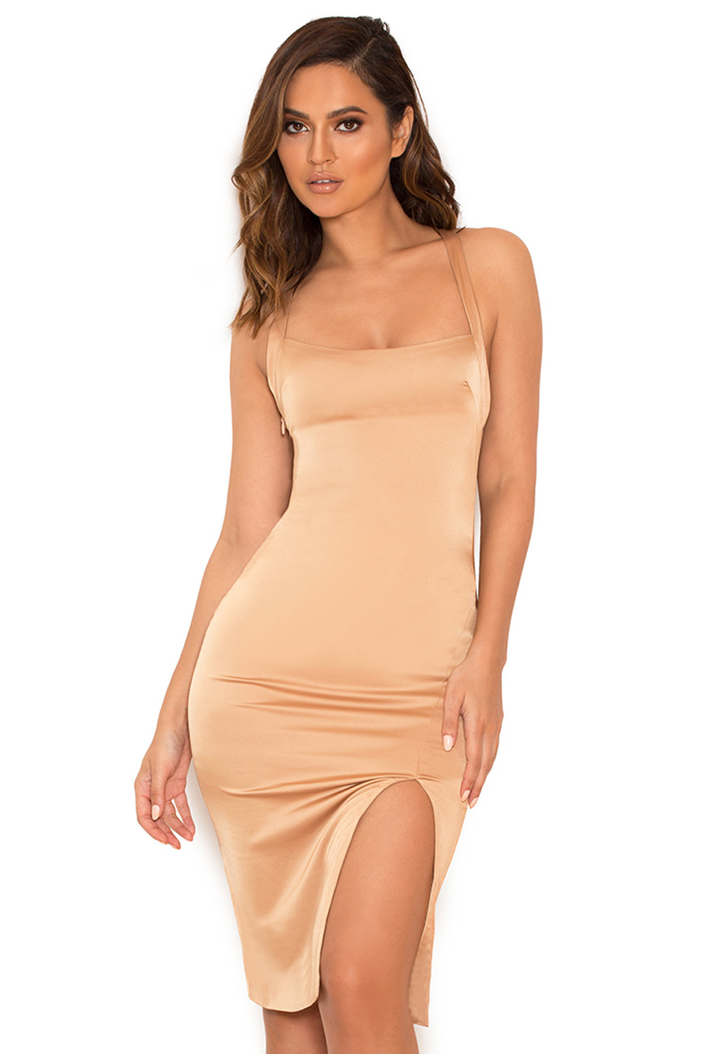 Clothing Bodycon Dresses Essie Nude Stretch Satin Thigh Split Inside Flats Hadid Khaky 37 Dress