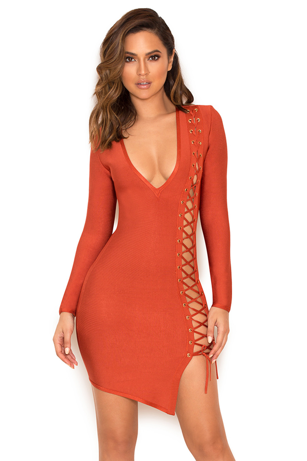 clothing bandage dresses daniela tan lace up bandage