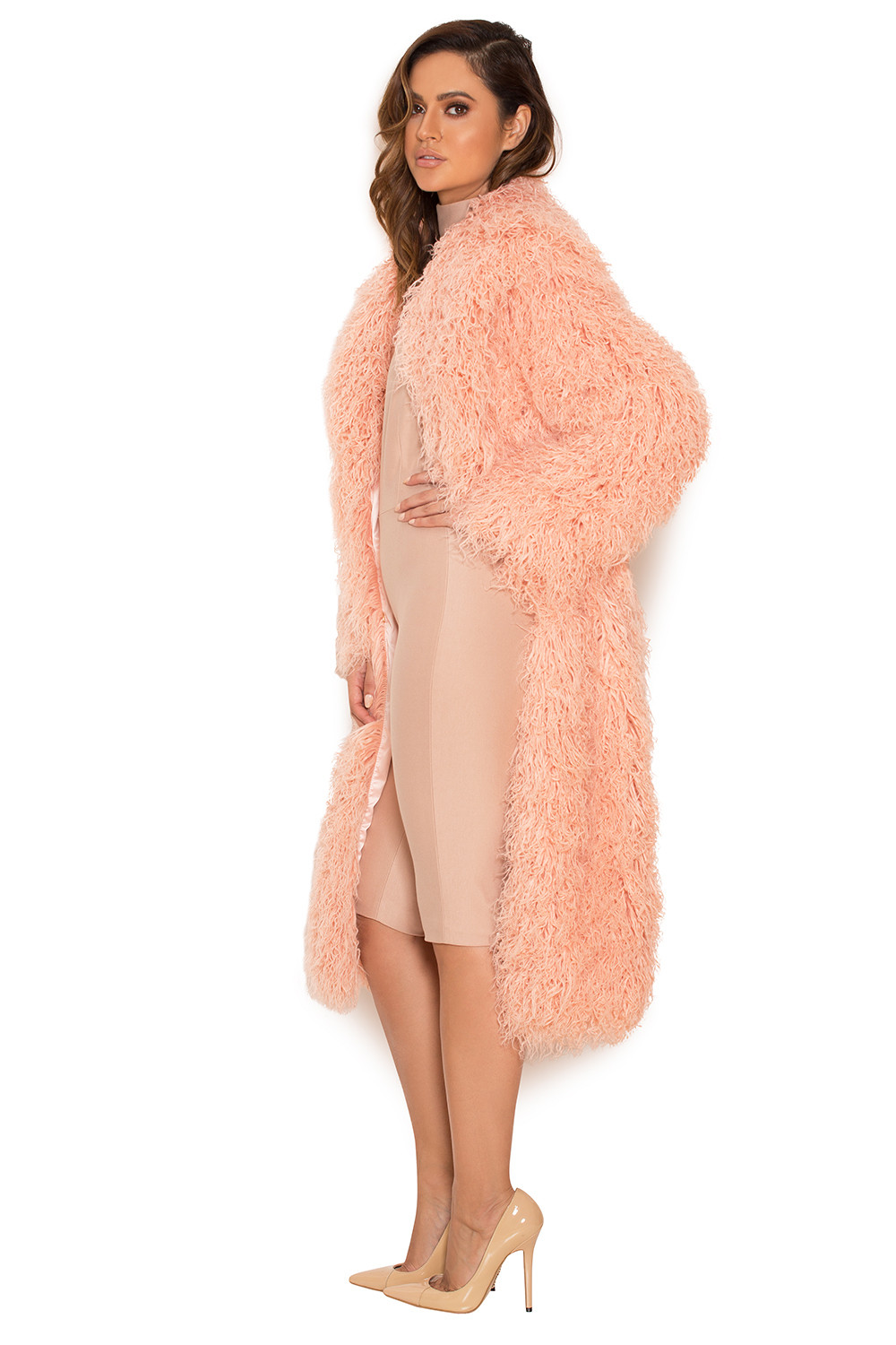 Clothing : Jackets : 'Felicita' Blush Faux Fur Curly Shearling Coat
