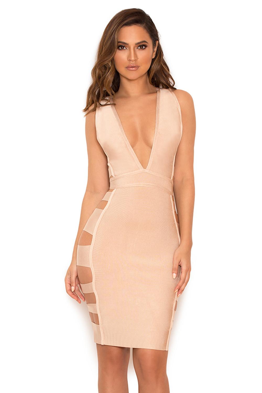 Fyne Girlz intended for clothing : bandage dresses : 'jansen' nude deep v side slash