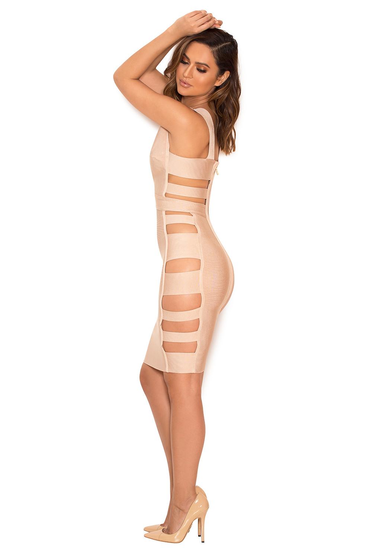 Fyne Girlz for clothing : bandage dresses : 'jansen' nude deep v side slash